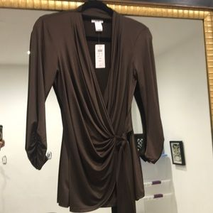 Long Sleeve Dark Brown Top by Cache